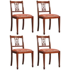 Set of Four Mahogany Dining Chairs in the Style of Georg III