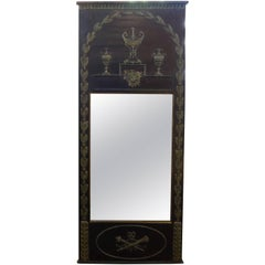 French Empire Style Ebonized and Painted Mirror, circa 1920
