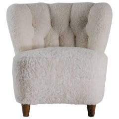 Scandinavian Vintage Armchair, circa 1900, Lambskin Upholstery