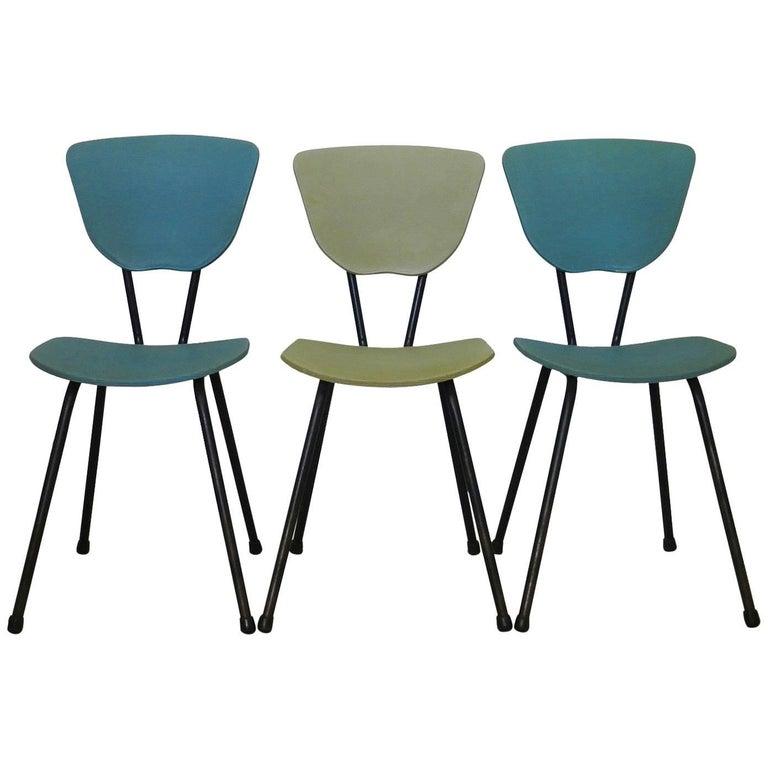 Three Midcentury Chairs French, circa 1950 Metal