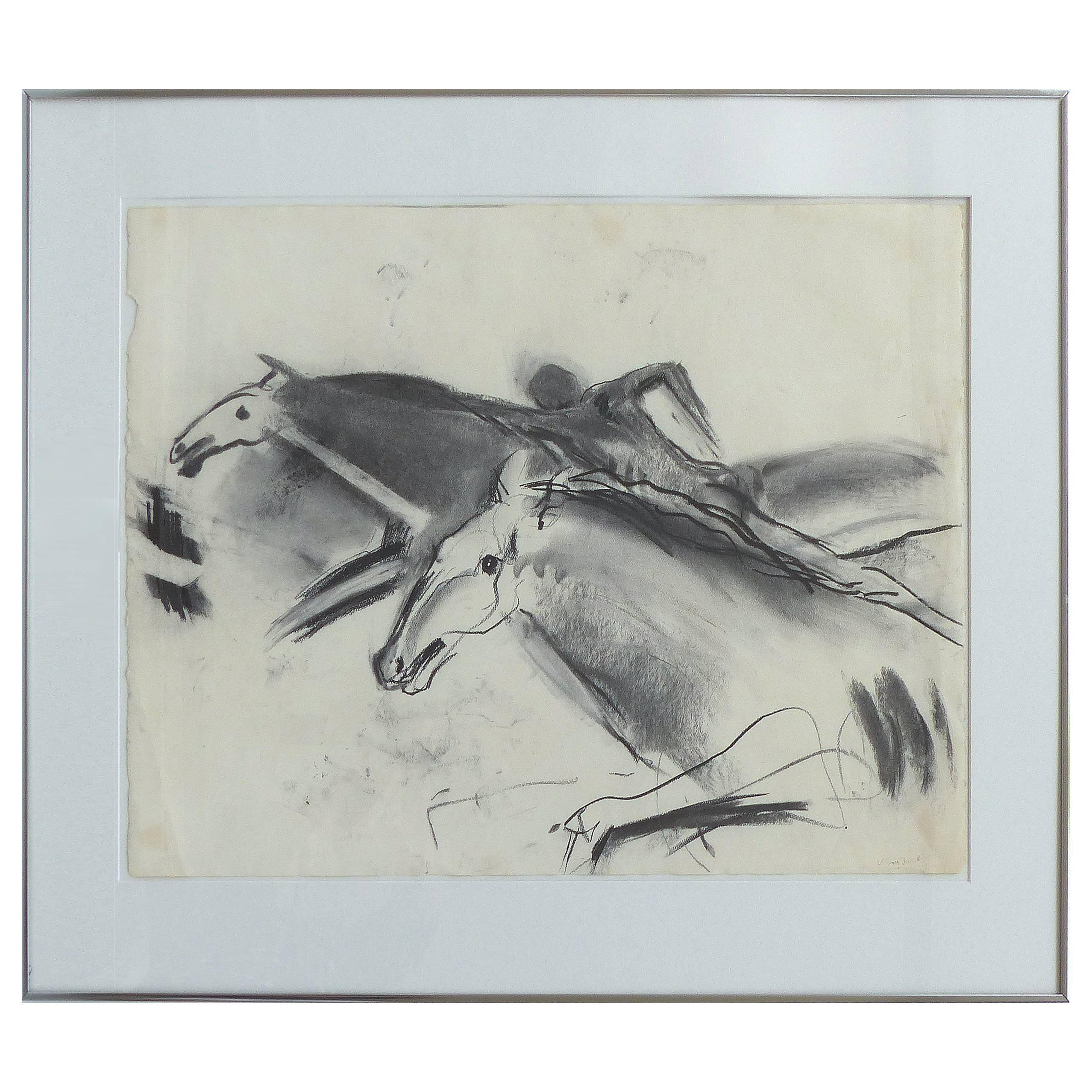 Original Charcoal and Watercolor by Mary Frank, Pencil Signed