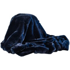 Navy Blue Rex Rabbit Fur Throw