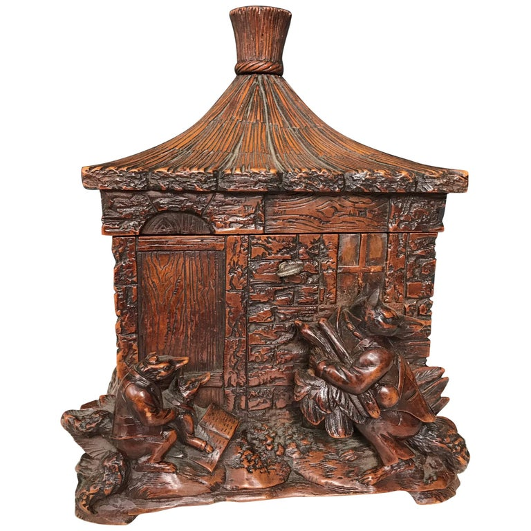 Stunning & Antique Black Forest Box, Carved Cottage w. Figural Fox Family Group