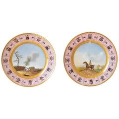 Pair of Antique French Empire Porcelain Decorative Plates, circa 1820