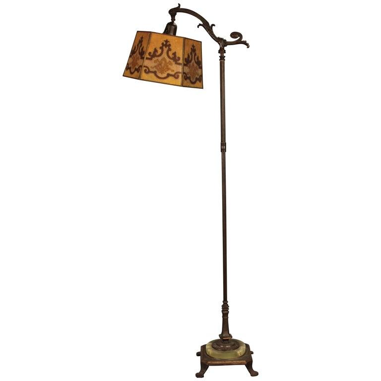 1920s Spanish Revival Bridge Lamp with Mica Shade