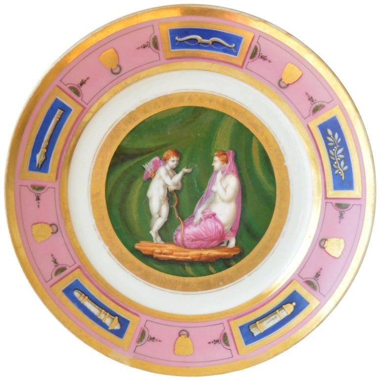 Antique French Empire Porcelain Plate Old Paris Venus and Amour, circa 1820