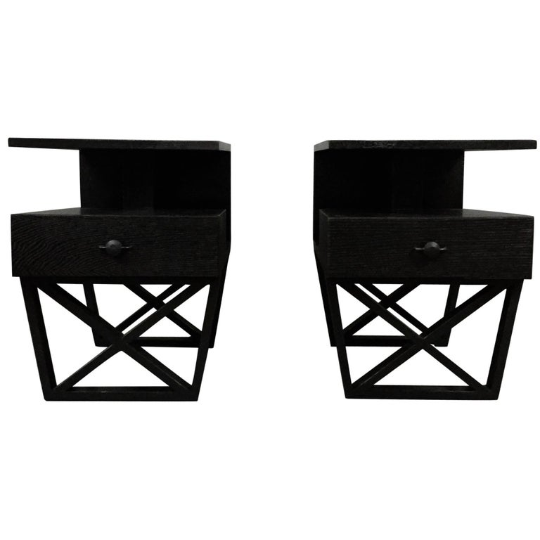 Pair of American X-Frame Ebonized End Tables, 1950s