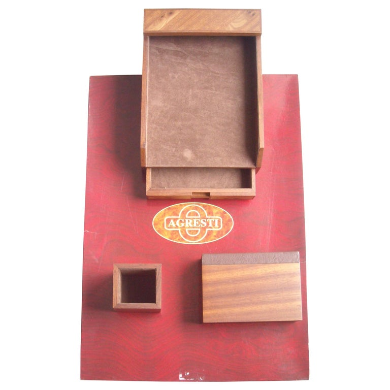 Agresti, Blotter and Desk Set, Four Pieces in Elm Wood For Sale