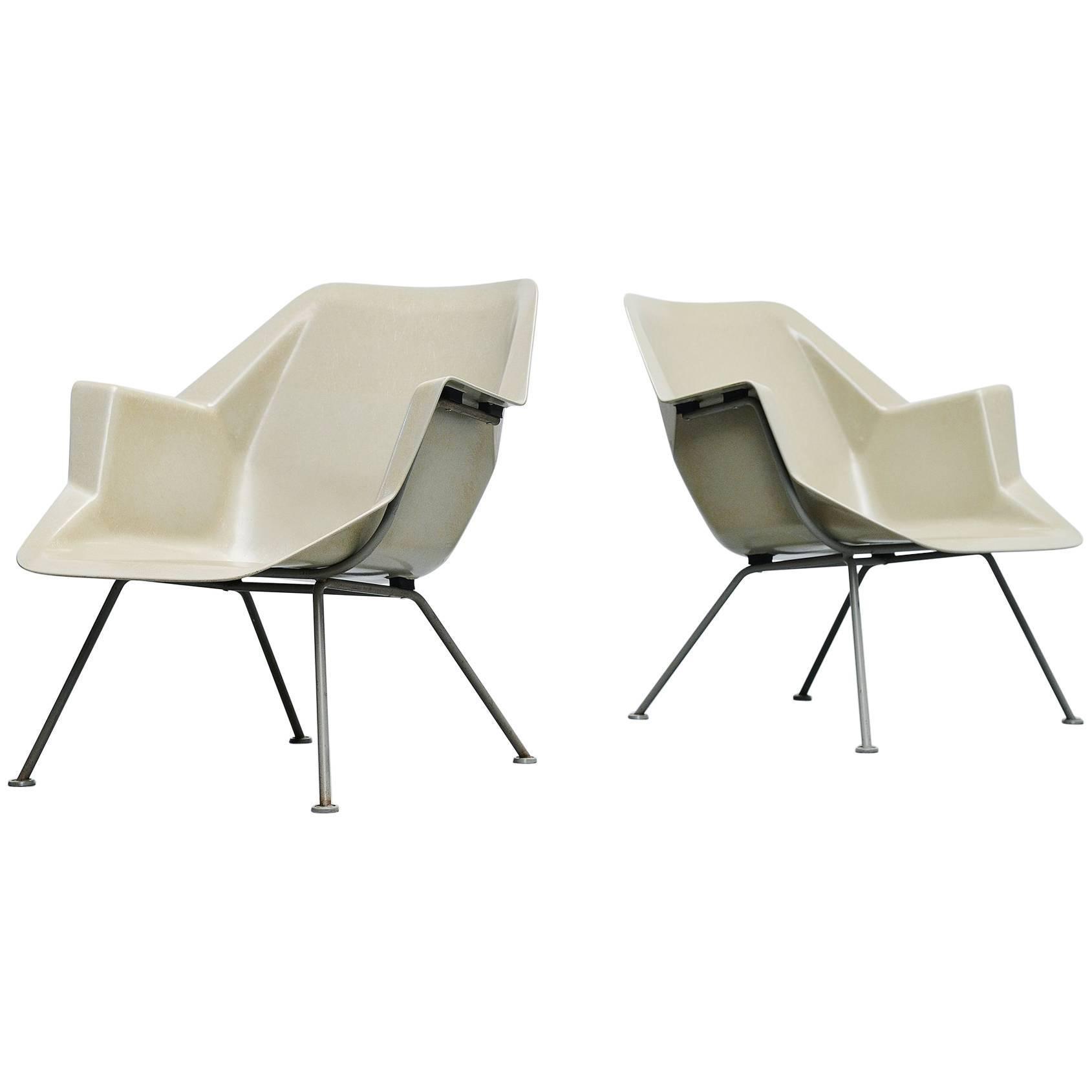 Wim Rietveld Polyester Chairs Model 416 Gispen, 1957