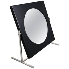 Modernist Steel and Leather Table or Vanity Mirror, France 1960's