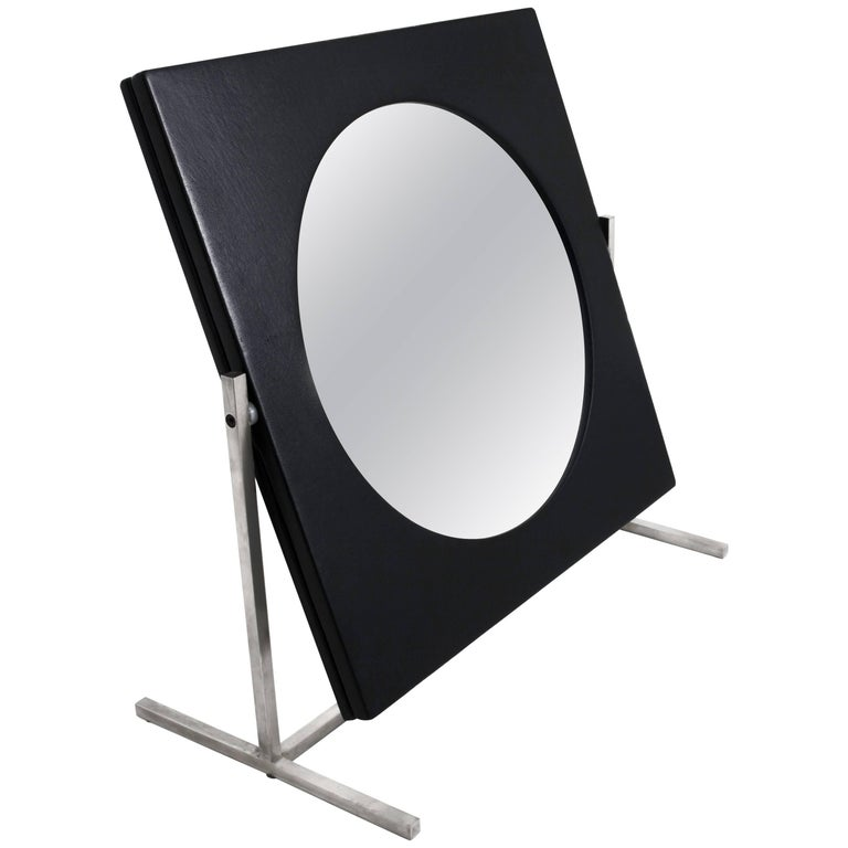 Modernist Steel and Leather Table or Vanity Mirror, France 1960's For Sale