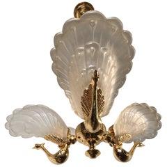 Rare Midcentury Chandelier / Pendant with Golden Bronze Glass Peacock Sculptures