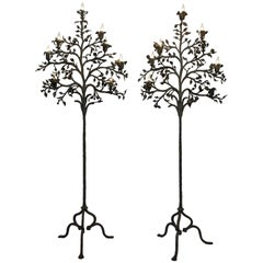 Pair of Wrought Iron Tree Form Torchiere Floor Lamps, Italy, 19th Century