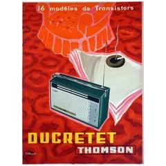 French Midcentury Radio Poster for 'Ducretet Thomson' by Modern Artist Villemot