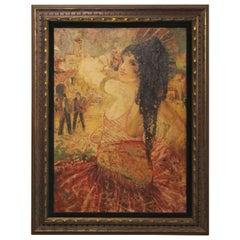 Vibrant Spanish Revival Oil Painting of Signorita