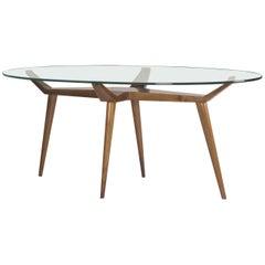 Exceptional Pierluigi Giordani Biomorphic Walnut & Glass Dining Table Italy 1955