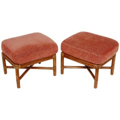 Pair of McGuire Bamboo Rattan Upholstered Ottomans