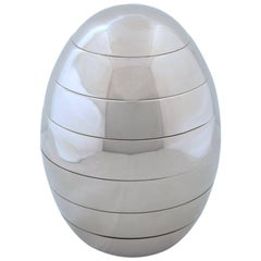 Italian Tommaso Barbi Modernist Chrome Egg Sculpture Stacking Bowls Trays