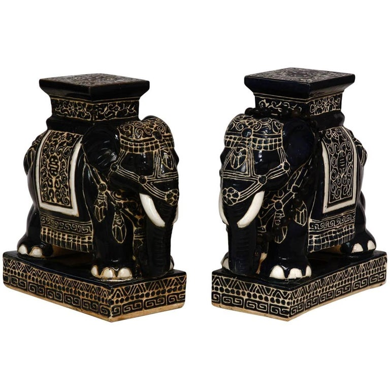 Pair Of Ceramic Elephant Garden Stools Or Drink Tables At