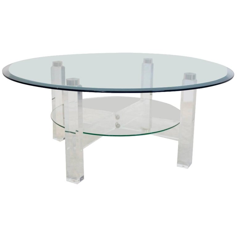 Glamorous Lucite, Brass and Glass Coffee Table, Belgium, 1970s For Sale