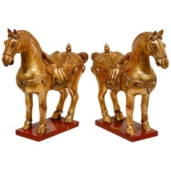 Pair of Chinese Tang Dynasty Style Gilt Horse Sculptures