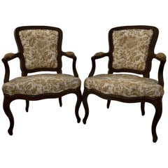 Pair of French Wood, with Upholstery, Regency Style Armchairs, 1800s