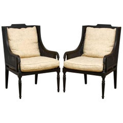 Pair of Contemporary Black Lacquer Caned Wing Chairs