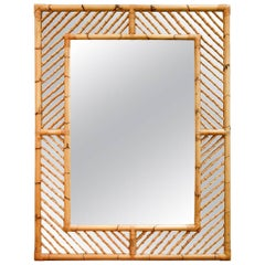Monumental Bamboo Mirror with Geometrical Fretwork