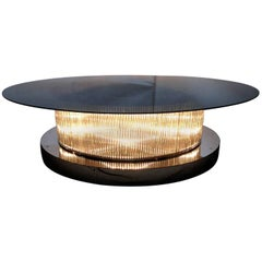Monumental Italian Crystal Bars Coffee Table