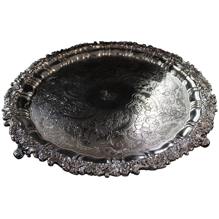Sheffield Silver Plated Crested Salver Early 19th Century