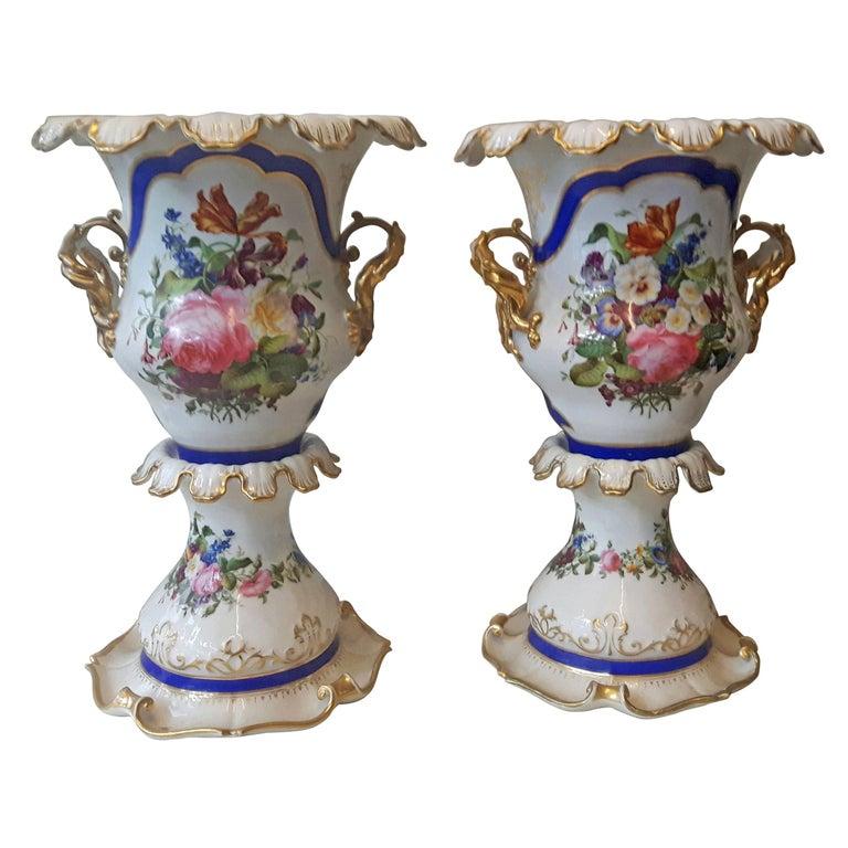 Unusual Pair of 19th Century Paris Vases