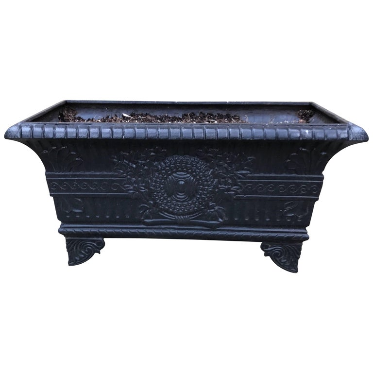 19th Century French Cast Iron Rectangular Planter Jardinière