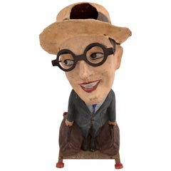 "French Papier Mâché ""Passe Boule"" Carnival Game Harold Lloyd Figure, Early 1920s"