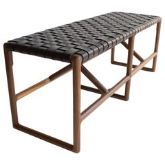 Montgomery Woven Leather Bench 48""