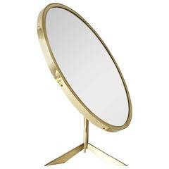 Large Brass Table Mirror by Vereinigte Werkstätten, Germany, 1950s