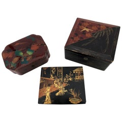 Set of Three French Lacquered Boxes in Black, Red with Gilt Birds and Scene