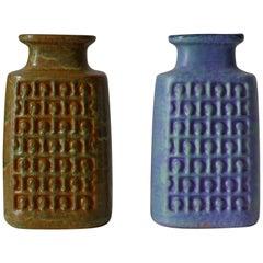 Set aus zwei Keramik-Vasen mit geometrischem Relief-Dekor, Op-Art, Deutschland, 1960er Jahre
