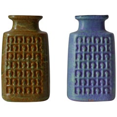 Set of Two Op Art German Pottery Vases Geometric Relief Décor, 1960s