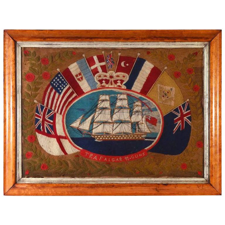 British Sailor's Flag of Nations Woolwork, HMS Trafalgar, 91 Guns, circa 1865