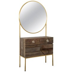 Classic and Modern Handmade Vanity in Natural Elm with Hand Welded Hardware