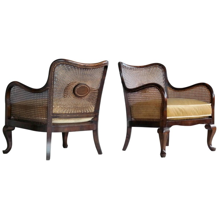 Pair of Danish Early 20th Century Caned Library Bergère Chair in Stained Birch