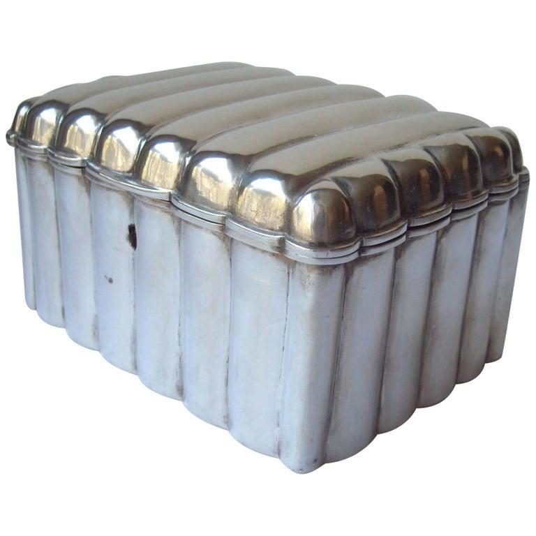 Austria, Vienna, Silver Etrog or Sugar Box with Lock, Great Modern Look
