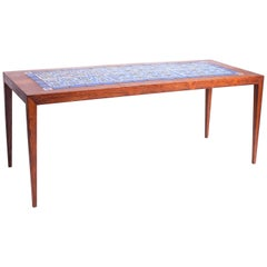 Rosewood Coffee Table with Blue and Green Ceramic Tiles by Severin Hansen