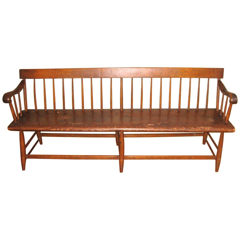 1850s Antique Deacon's Farmhouse Rustic Bench