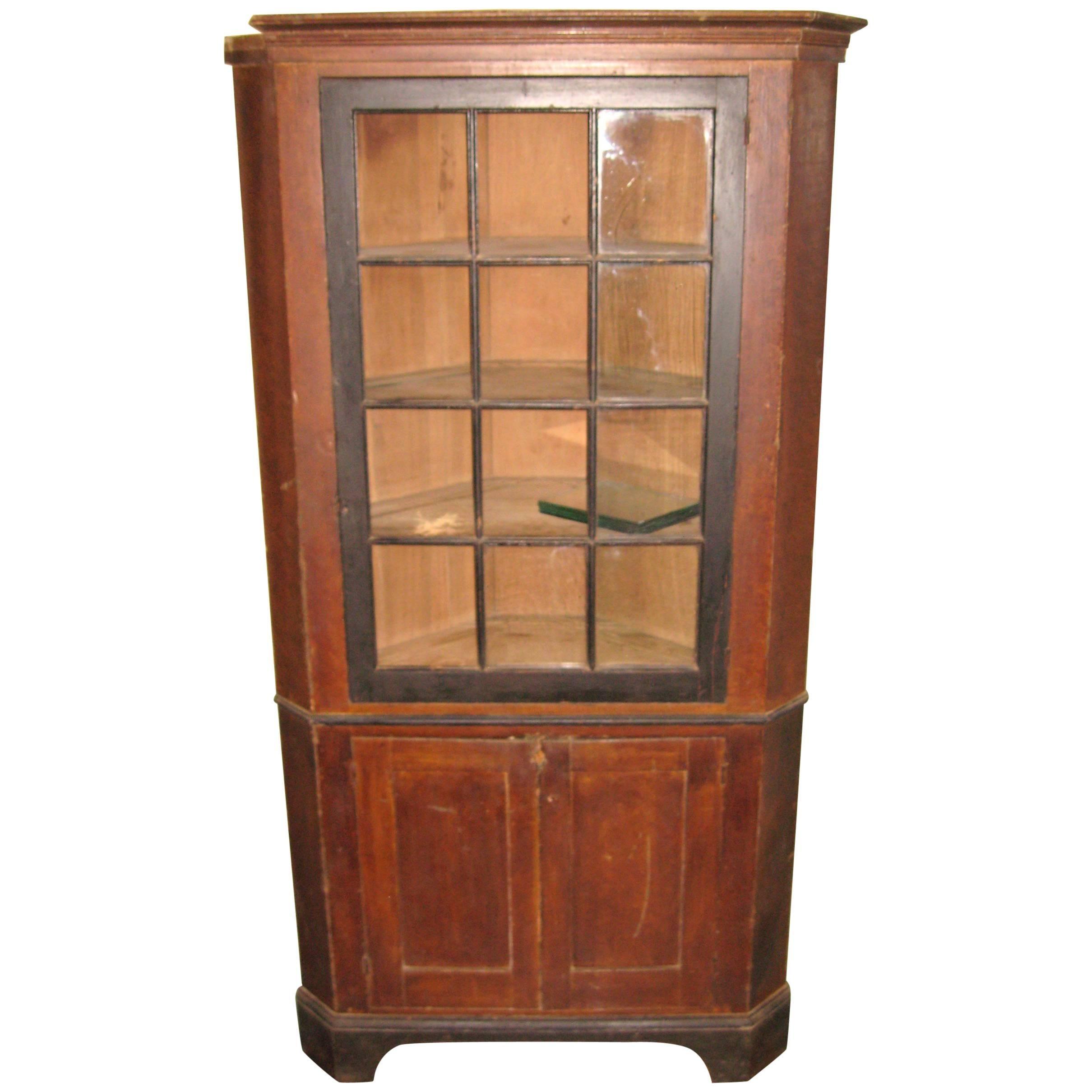 1830s Primitive Farmhouse Corner Cupboard Pine Cabinet