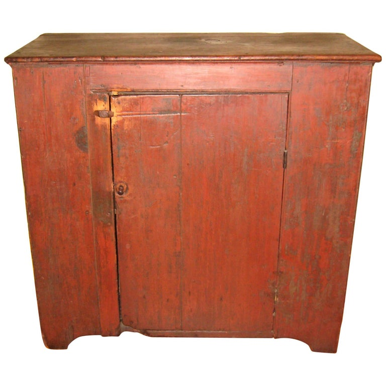 1800s One Door Primitive Farm House Antique Pine Jelly Cupboard Cabinet