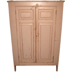 1820s Primitive Farmhouse Two-Door Pine Jelly Cupboard Cabinet