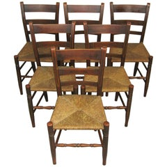 Antique 1820s Set of Six Ladder Back Rush Seat Paint Decorated Chairs