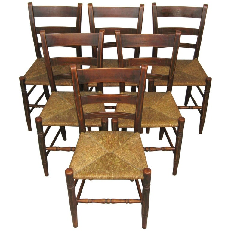 Antique 1820s Set of Six Ladder Back Rush Seat Paint Decorated Chairs For  Sale - Antique 1820s Set Of Six Ladder Back Rush Seat Paint Decorated