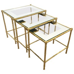 Classic Faux Bamboo Brass Nesting Tables, Set of Three, Maison Baguès, France